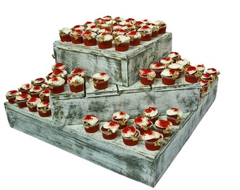Wood Cake Cupcake Stand 3 Tier Wedding Country Barn Farmhouse