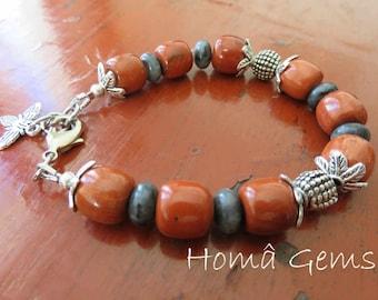Ethnic bracelet, stone red Jasper and Labradorite, bee charm.