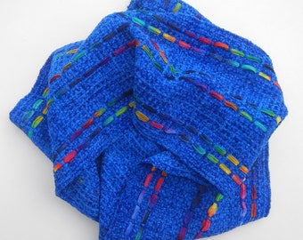 Royal blue handwoven chenille scarf with rainbow ribbon accents 6 by 76 inches