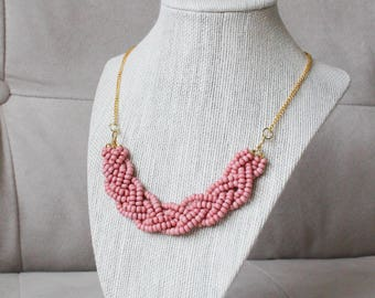 Dusty Rose Statement Necklace with Gold Chain, Soft Pink Braided Bead Necklace, Dusty Rose Multistrand Necklace, Light Pink Necklace