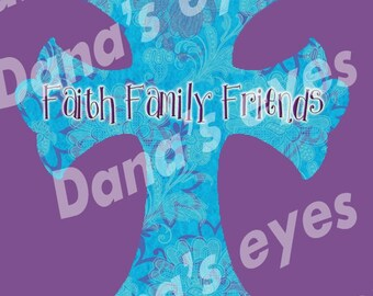 Christian faith cross Floral blue and purple printable digital download craft supplies 8x10