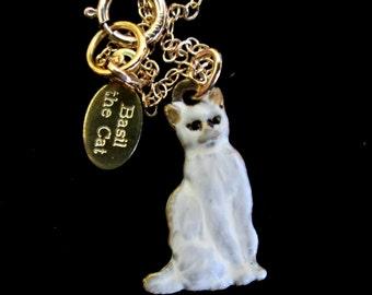 Teensy Tiny Vintage Siamese Cat Charm Necklace