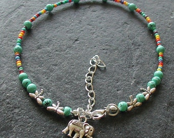 Multi Coloured Turquoise Beads Dragonfly Elephant Charm Anklet Hippy Festival
