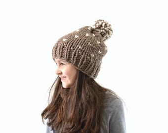 Chunky Fair Isle Nordic Style Knit Pom Pom Hat Beanie Toque | The Madison