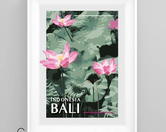 BALI, Indonesia, Lotus Flowers, Vintage Travel Poster, A5/A4/A3