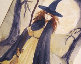 Witch and Black Cat Painting, Fantasy Art Original 5X7 inch Watercolor Gothic Art Wicca Whimsical Art Drawing Illustration MPrince