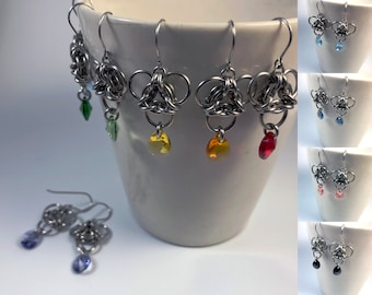 Brigid Earrings Surgical Stainless Steel with Genuine Swarovski Crystals Colors Custom Options Chainmaille