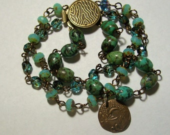 Chrysacolla and Czech Glass Bead Antique Bronze Wire Linked 3-Strand Bracelet with Koi Charm by Carol Wilson of Je t'adorn