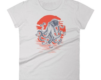 Octopus Sunrise Vintage Retro Women's Octopus T Shirt