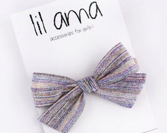 Liberty of London School Girl Bow - Oversized Tied Bow-  Bow Clip - Nylon Headbands - Fabric Bow Headband - Rainbow Headband - Baby Bows