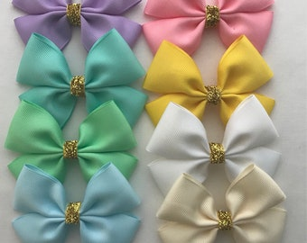 Spring hair bows with gold centre, Pink Hair Bow, Purple Hair Bow, Aqua Hair Bow, Cream Hair Bow, Blue Bow, Pinwheel Hair Bow, Ready to ship