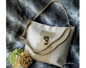 Cream Tote Bag, Vegan Purse, Faux Leather Handbag, Vegan Handbag, Cream Shoulder Bag, Beige Tote Bag, Everyday Handbag, Gift For Her