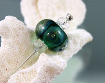 hat pin, lampwork hat pin, lampwork shawl pin, lapel pin, glass bead scarf pin, glass bead hat pin, beaded hat stick, beaded shawl pin