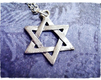 Silver Star of David Necklace - Antique Pewter Star of David Charm on a Delicate Silver Plated Cable Chain or Charm Only