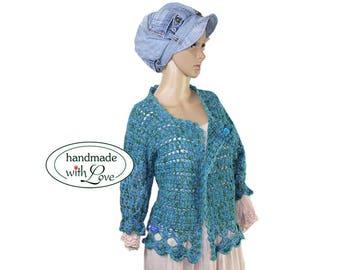 Hand crochet handmade vintage crochet vest bolero Shabby chic Gr. 44 46 L XL