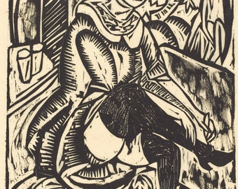 20th Century Expressionism: Women Tying Her Shoe (Frau, Schuh Zuknopfend), 1912 by Ernst Ludwig Kirchner. Fine Art Reproduction.