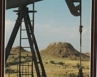 Vintage 1980s Postcard Kansas Oil and Gas Industrial Pumpjack Nodding Donkey Production Energy View Photochrome Era Postally Unused