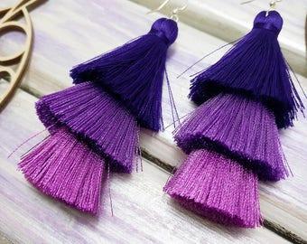 Ombre violet tassel Layered Ultraviolet Tassel Earrings Ultraviolet tassel earrings Tassel earrings Boho earrings Layered earrings