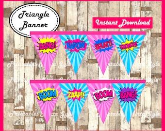 Superhero girls Banner, printable girl Superhero party Banner, Superhero triangle Banner