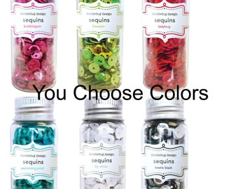 Doodlebug Kraft In Color Sequins Ladybug, Lily White, Bubblegum, Limeade ,Beetle Black, Swimming Pool, You Choose Colors