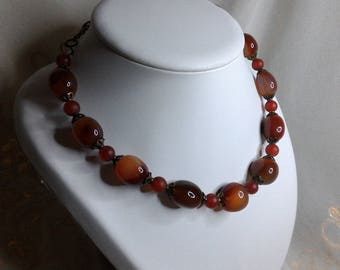 Carnelian necklace brown irregular oval bead