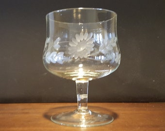 Elegant Etched Glass Brandy Snifter
