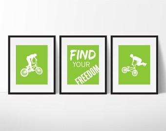 BMX Prints - Bike Rider Art - BMX Typography - Find Your Freedom - Teen Room - Nursery Decor - Children's Room - Playroom Decor - Set of 3