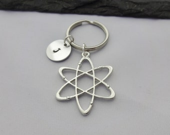 Initial Atom Keyring, Atom Keyring, Science Keyring, Hand Stamped Keyring, Science Gifts, Charm, Atom Keychain, Personalised, Geek Gifts