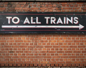 Vintage Train Station Sign, Hand-Painted