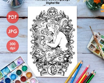 Art NOUVEAU COLOURING PAGE  Printable Coloring Page Adults and Children, Art Nouveau Lineart, Cosmic Lover drawing Painting Medusa Dollmaker