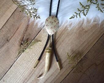 Floral Deer Antler Tip Bolo Tie