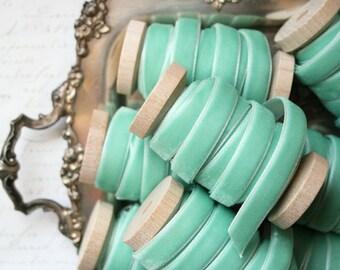 """Mint Velvet Ribbon, Mint Green Velvet Ribbon, 3/8"""" Velvet Ribbon, Velvet Ribbon Spool, 3 yards, Green Velvet Ribbon, Mint Wedding"""