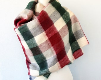 Large scarf plaid scarf vegan winter scarf blanket shawl christmas scarf green red chekered scarf christmas gift fall wrap chunky scarf