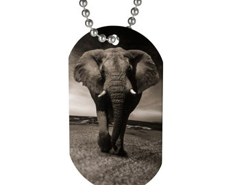 Elephant Dog Tag Necklace Gifts For Girls Gifts For Boys 15 Inch Chain Necklace