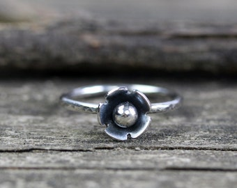 Sterling silver flower ring / silver stacking ring / gift for her / jewelry sale / silver ring / sterling ring / simple ring / dainty ring