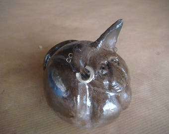 "Raku ceramic cat ""Corto Maltese"""