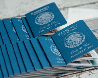 Passport Invitation for a destination wedding - Custom made invites | Handmade in Canada by  ---- www.empireinvites.ca ---