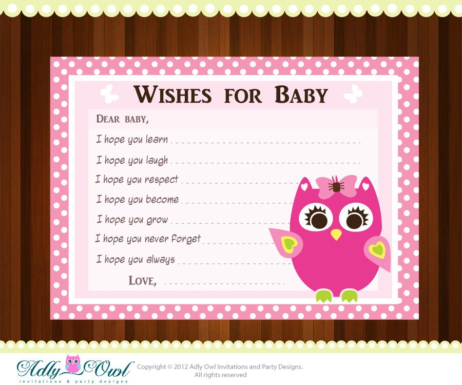 Pink girl owl baby shower wish and advice card printable diy zoom m4hsunfo