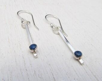 Minimal Lapis Lazuli and Argentium Silver Dangle Earrings / Sterling Silver Earrings / Lapis Lazuli Earrings /Bridal Earrings /Bar Earrings