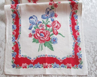 Vintage Towel Red Kitchen Linens Printed Floral Dish Cloth 1940's 1950's Mid Century Textiles Table Runner Hand Dish Towel Vintage Linens