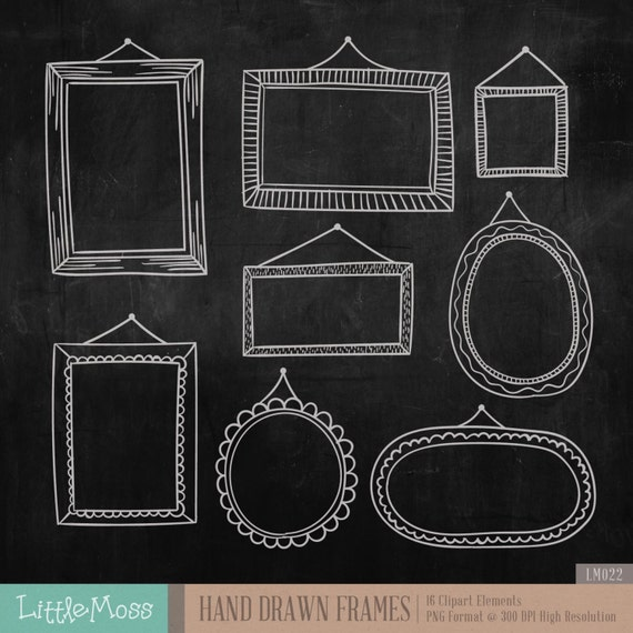 Hand Drawn Frames Digital Clipart Chalkboard Frames Clipart
