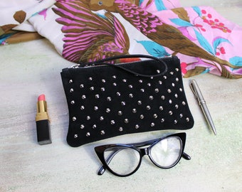 Studded leather clutch, leather clutches on sale, black leather pochette, clutch hand made, READY to Shipping