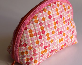Handmade Dumpling pouch - fabric - quilted - pink orange beige - dots