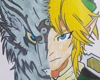 Legend of Zelda Twilight Princess LINK Half Wolf print