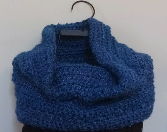 Blue Snood Cowl Infinity Scarf Extra Thick Womens Gift Under 50 dollars