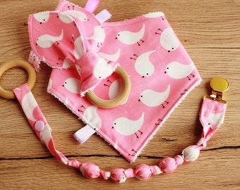 Unique baby gift, Bandana Bib girl, Drool bib, Baby girl gift set, New Mom gift, Baby Christmas gift, Pacifier clip, Teething toy, Baby bib