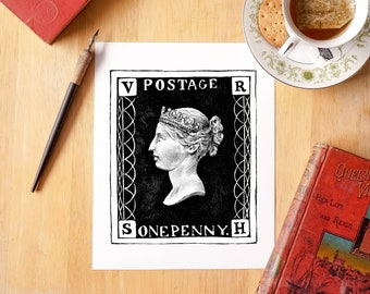 Penny Black Queen Victoria Stamp - Fine Art Giclée Archival Print