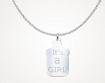 Its a girl baby bottle necklace, sterling silver necklace, mommy gifts, baby shower favor, baby shower gender reveal necklace, gifts for her