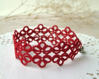 Red woman bracelet Tatting lace braided bracelet Best friend gift Stackable cuff bracelet Fancy boho armband Everyday jewelry