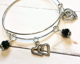 Black and silver charm bangle, silver heart charm bracelet, charm bangle, charm bracelet, pretty bangle, ladies gift, silver charm, gift